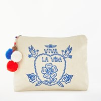 Star Mela Viva Embroidered Purse Ecru Blue