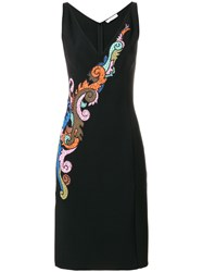 Versace Collection Embroidered V Neck Dress Black