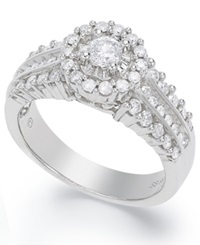 Macy's Certified Round Cut Diamond Engagement Ring In Sterling Silver 3 8 Ct. T.W.