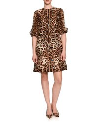 Puff Sleeve Jeweled Leopard Print Shift Dress