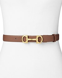 Salvatore Ferragamo Gancio Bit Leather Belt New Moka Brown Gold