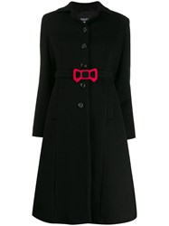 Boutique Moschino Bow Detail Coat Black