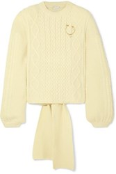 Magda Butrym Braid City Embellished Cable Knit Wool And Cashmere Blend Sweater Cream