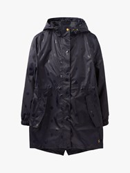 Joules Golightly Pack Away Waterproof Glossy Spot Print Coat Black