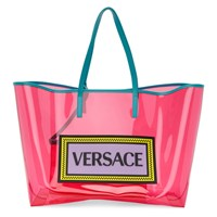 Versace Pink And Blue Pvc Oversized Tote