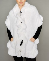 The Fur Vault Knitted Rabbit Ruffled Stole White
