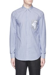 3.1 Phillip Lim Floral Embroidered Pocket Stripe Shirt Multi Colour