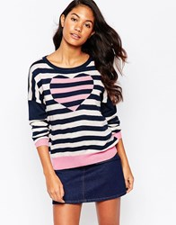 Yumi Jumper In Heart And Stripe Pink