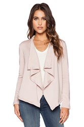Heather Cross Back Fleece Cardigan Blush