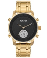 Kenneth Cole Reaction Analog Digital Gold Tone Stainless Steel Bracelet Watch 44Mm