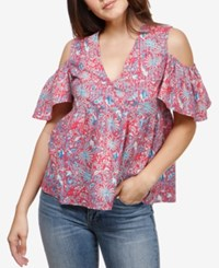 Lucky Brand Cold Shoulder Babydoll Top Red Multi