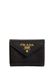 Prada Compact Saffiano Leather Envelope Wallet Black