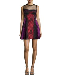Nanette Lepore Sleeveless Illusion Fit And Flare Dress Scarlet Multi