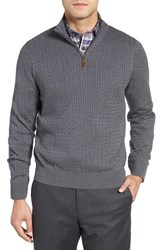 David Donahue Men's Cable Knit Silk Blend Quarter Zip Sweater Charcoal