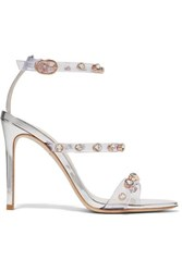 Sophia Webster Rosalind Crystal Embellished Pvc And Metallic Leather Sandals Silver
