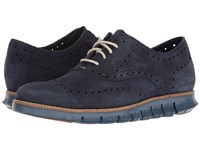 Cole Haan Zerogrand Wing Ox Suede Marine Blue Suede Washed Indigo Madras Men's Shoes Black