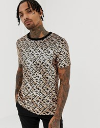 Jaded London T Shirt In Leopard Print Sequin Gold