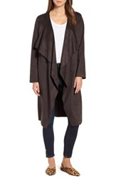 Halogen Faux Suede Front Drape Trench Coat Coffee