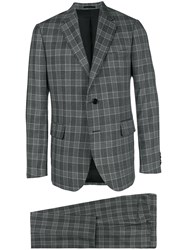 Versace Checked Two Piece Suit Grey