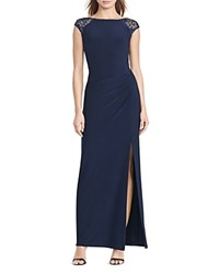Ralph Lauren Petites Knit Sequin Mesh Back Gown Lighthouse Navy Lighthouse Navy Shine