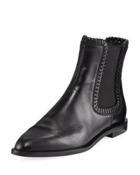 Tod's Whipstitched Flat Leather Chelsea Boot Black