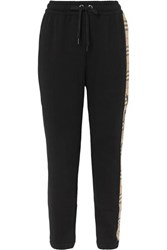 Burberry Checked Paneled Cotton Jersey Track Pants Black