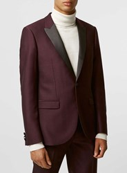 Topman Burgundy Crepe Skinny Fit Tux Jacket With Contrast Lapel Red