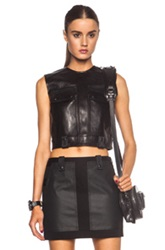 Alexander Wang Leather Cargo Crop Top With Patch Pockets In Black