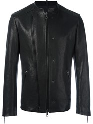 Tom Rebl Double Zipped Collarless Jacket Black