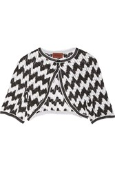 Missoni Cropped Metallic Crochet Knit Cardigan Black