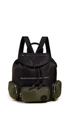Mcq By Alexander Mcqueen Convertible Drawstring Backpack Black Washed Khaki