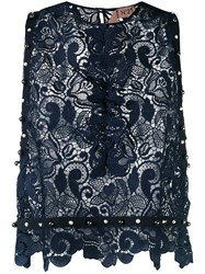 N 21 No21 Embroidered Lace Blouse Women Polyester 42 Blue