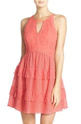 Adelyn Rae Women's Keyhole Front Lace Fit And Flare Dress