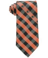 Eagles Wings Philadelphia Flyers Checked Tie Black