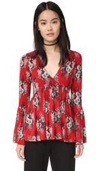 Free People Speak Easy Printed Top Red