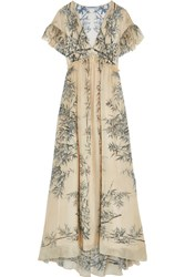 Philosophy Di Lorenzo Serafini Ruffled Printed Silk Maxi Dress Cream