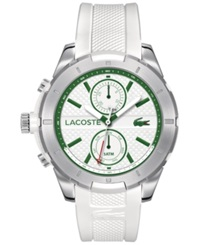 Lacoste Men's Chronograph Tonga White Silicone Strap Watch 47Mm 2010775