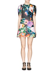 Chictopia Floral Print Scuba Jersey Flare Dress Multi Colour