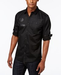 Inc International Concepts Men's Faux Leather Trim Long Sleeve Shirt Only At Macy's Deep Black
