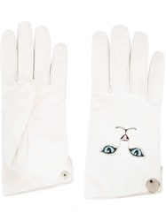 Vivetta Cat Embroidered Gloves White