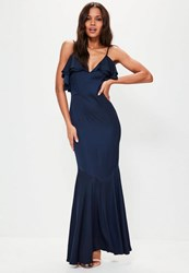 Missguided Navy Strappy Frill Detail Maxi Dress