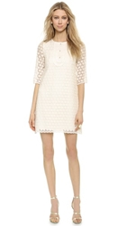 Leur Logette Daisy Embroidered Long Sleeve Dress Off White