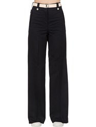 Moncler Cotton Bull Wide Leg Pants Blue
