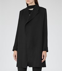 Reiss Caspian Womens Open Front Coat In Black