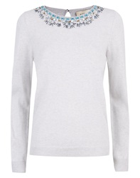 Havren Beaded Necklace Jumper Grey