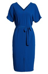 Bobeau Stretch Crepe Dress Blue