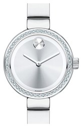 Women's Movado 'Bold' Diamond Bezel Bangle Watch 25Mm Silver