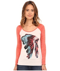 Rock And Roll Cowgirl Long Sleeve T Shirt 48T4294 Coral Women's T Shirt