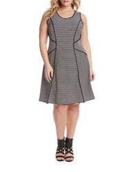 Karen Kane Plus Plus Contrast Binding Fit And Flare Dress Black White