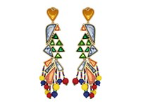 Tory Burch Parrot Statement Earrings Multi Vintage Gold